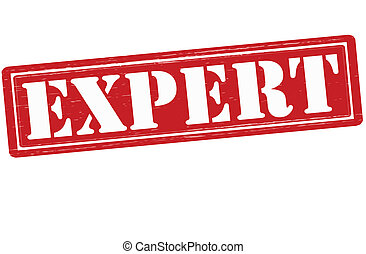 Expert - Stamp with word expert inside, vector illustration