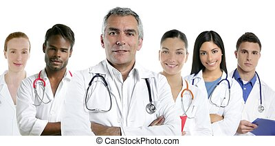 expertise doctor multiracial nurse team row - expertise gray...