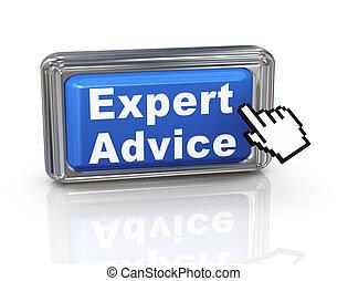 experto, botón, -, mano, cursor, consejo, 3d