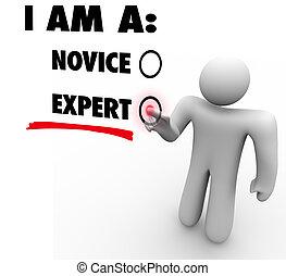 experto, nivel, experiencia, pericia, elegir, habilidad