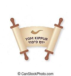 expiación, para, fácil, papel, kippur, vacaciones judías, ...