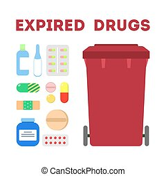 Expired drugs garbage. Trash container for medicine pills ...