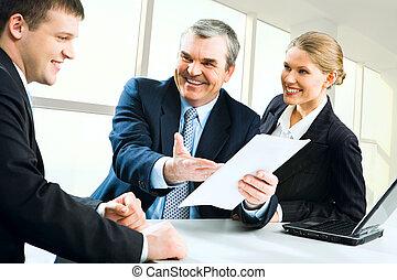 Explaining business instructions - Image of senior boss...