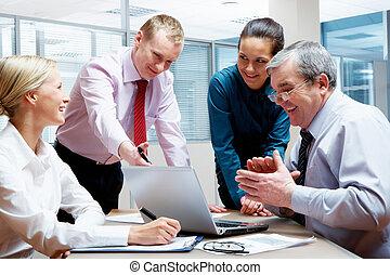 Explaining - Photo of confident manager explaining his...