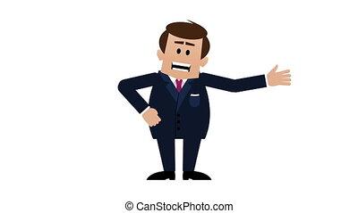 explaining, talking., молодой, loopable, matte., анимация, including, бизнесмен, альфа, белый, мультфильм