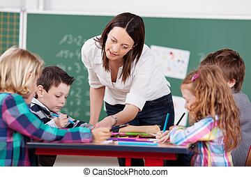 Explaining teacher - Teacher explain something to her...