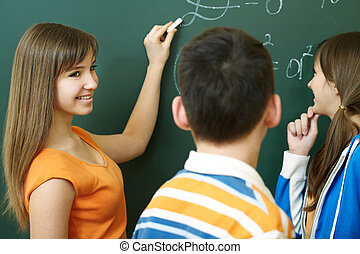 Explanation - Confident student explaining formula on...