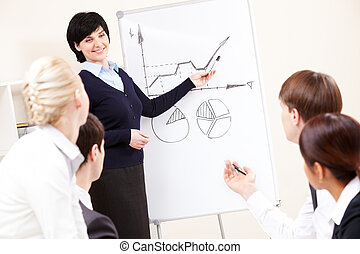 Image of confident woman making presentation and interacting with the audience