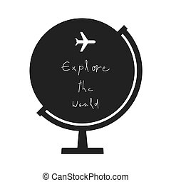 Explere the world hand lettering with airplane on earth globe background