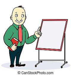 explicando, cima, painél publicitário, pasta, apontar, dar, caricatura, polegares, em branco, homem negócios, tábua, branca, óculos
