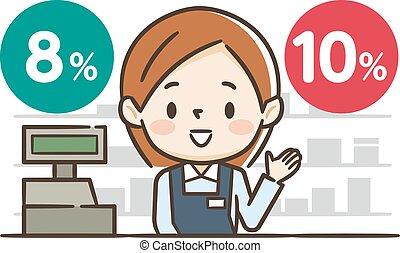 explicando, escriturário, imposto, jovem, vendas, femininas