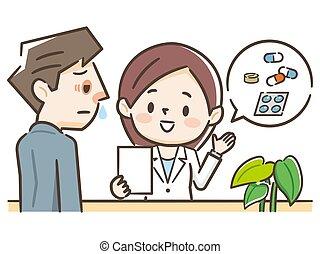 explicando, escutar, farmacêutico, paciente, ilustração