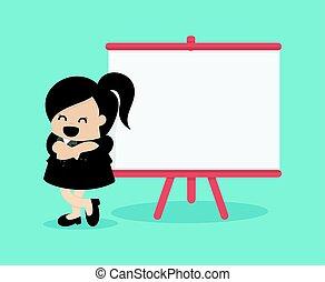 explicando, negócio mulher, relatório, tábua, sala reuniões, branca, quarto