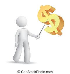 explicando, símbolo, homem, dólar, 3d