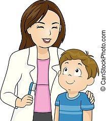 explicar, odontólogo, dentes, escovar, menino, criança