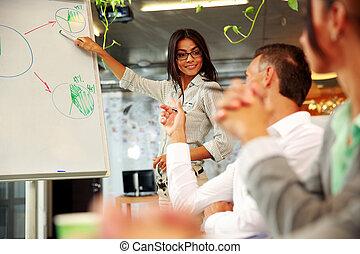 expliquer, Collègues, sien, graphique, femme affaires, heureux