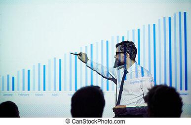expliquer, financier, données