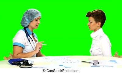 expliquer, patient, diagnostic, elle, docteur, screen., vert...