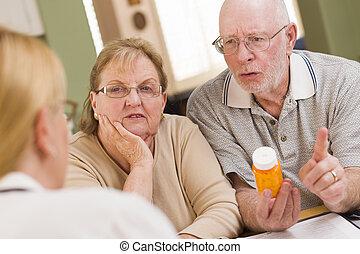 expliquer, prescription, docteur, couple., ou, médecine, ...