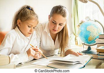 expliquer, tâche, fille, séance, mère, bureau, maison