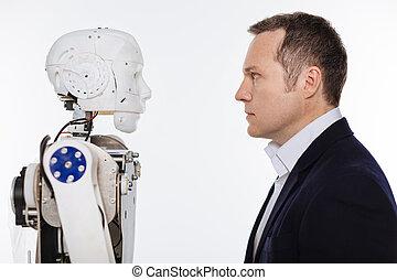 exploatör, annat, robot, stirrande, varje