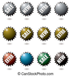 explode buttons - Collection of icons with drop shadow with...