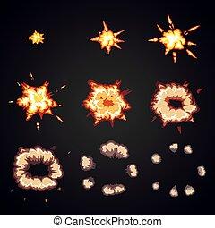 Explode effect animation. Cartoon bang explosion frames -...