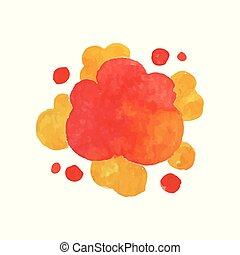 Explode effect in red and yellow colors. Bright watercolor...