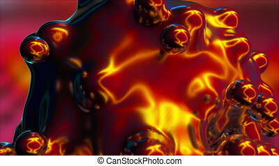 Computer generated explode of metaball. Formation of small spherical shapes in the space. 3d rendering abstract backdrop