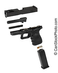 Exploded view of an automatic pistol over a white background.