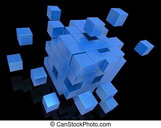 explodindo, blocos, mostrando, desorganizado, quebra-cabeça