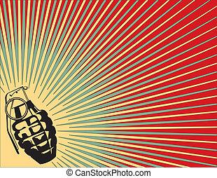 explodindo, granada, fundo