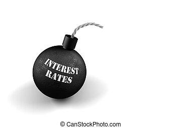 explodindo, taxas, interesse