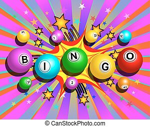 Exploding Bingo Background - Bingo balls word on colorful...