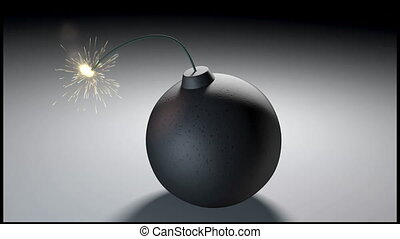 A 1080p video of a bomb lit fuse burning out and then exploding leaving a blast mark