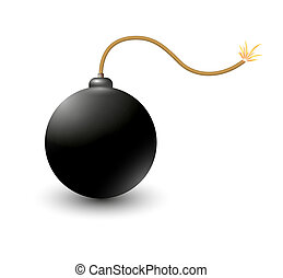 exploding bomb - bomb ready to explode on white background
