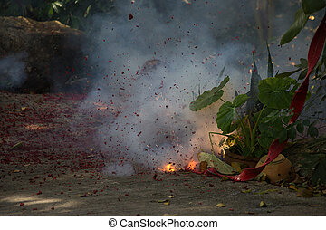 Exploding Chinese firecrackers - Firecrackers, burnt...