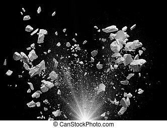exploding debris - split debris caused by explosion against...