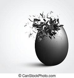 Detailed exploding egg