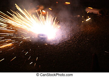 Exploding fireworks on New Year's Eve