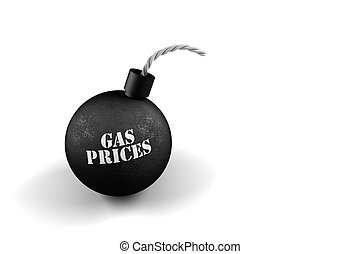 Exploding gas prices - Gas bomb - conceptual image for...