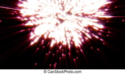 Exploding love with light rays on black. Metaphor of love,...