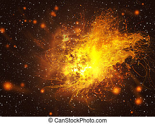 Exploding of Star in Space - Big exploding in the space,...