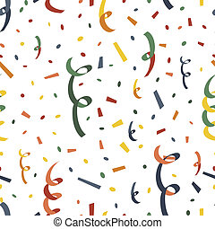 Exploding party popper with serpantin and confetti seamless pattern