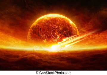 Exploding planet - Dramatic apocalyptic background - burning...
