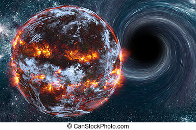 Exploding planet somewhere in space