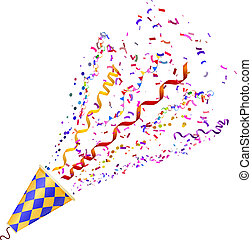 Exploding poppers with confetti isolated on white background. Vector illustration.