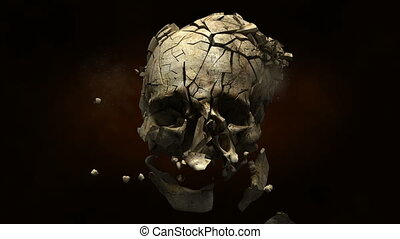 Exploding skull with bullet in slow
