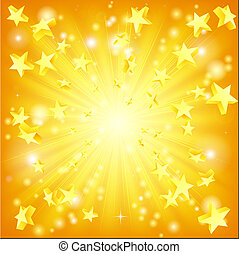 Exploding stars background - Orange and yellow background...