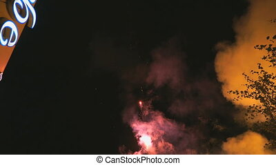 Exploding various colors fireworks in the dark sky